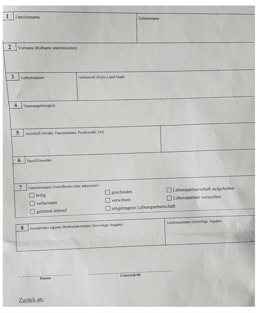 Einleitung eines Steuerstrafverfahren - der Personalienbogen